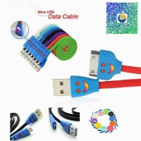 LED Smile Face USB Data Sync Charger Flat Cable for iPhone