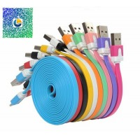 Colorful Flat noodle sync and charge cable 8 pin for iPhone 5 /ipad mini