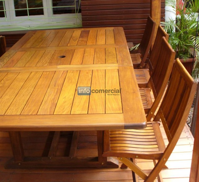Mesa de exterior extensible de madera leslie - Mesas de exterior de madera ...