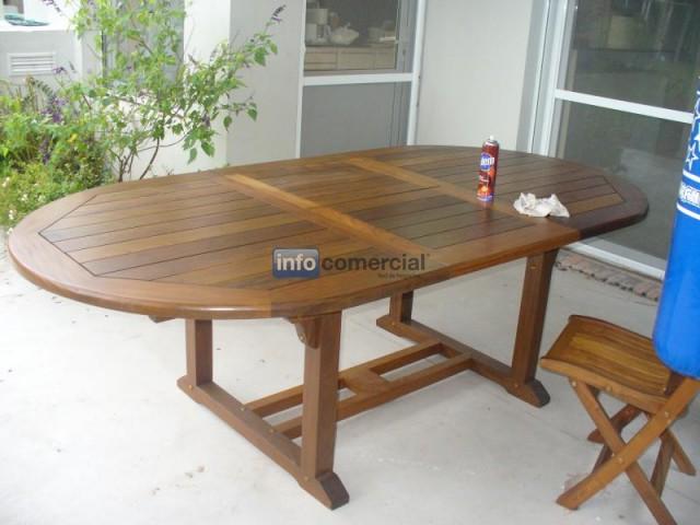 Mesa de exterior extensible de madera leslie - Mesa de madera exterior ...