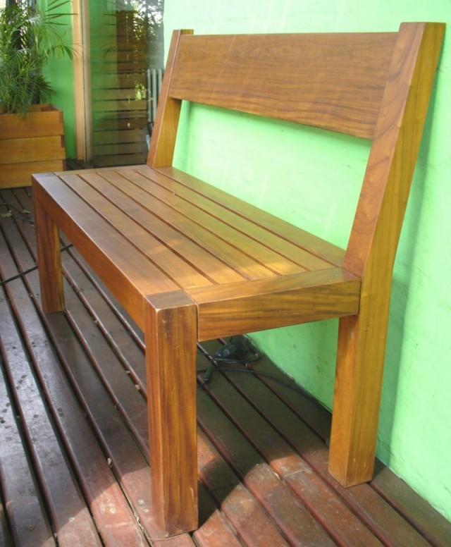 Banco de exterior de madera con respaldo valeria - Banco madera exterior ...