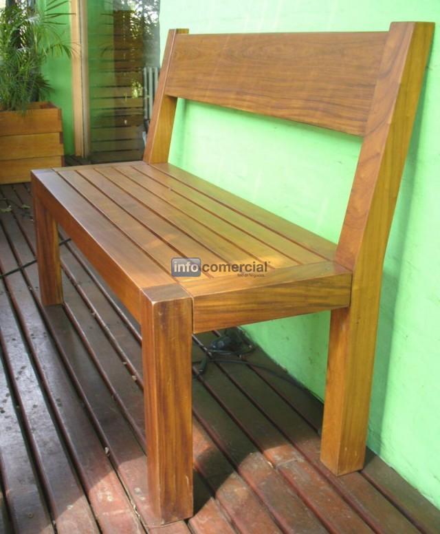 Banco de exterior de madera con respaldo valeria - Banco de madera ...
