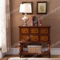 Vintage Console Table, Console Table with Drawers in Brown