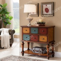 Vintage Console Table, Console Table with Colorful Drawers in Brown
