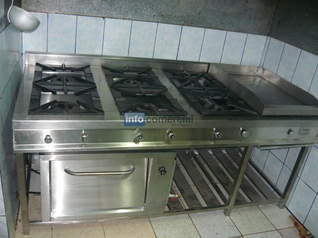 Cocina industrial 06 quemadores con plancha y horno de - Plancha de acero inoxidable para cocina ...