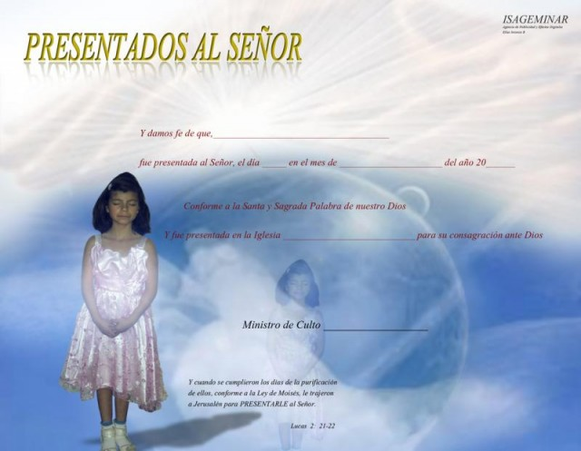 Certificado Presentacion De Ninos